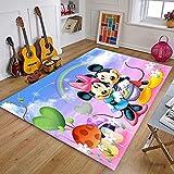 XuJinzisa Alfombra De Mickey Minnie Mouse, Alfombra con Estampado 3D De Franela, Alfombra Súper Suave para Sala De Estar, Alfombra para Habitación De Niños, 140X200Cm N5686