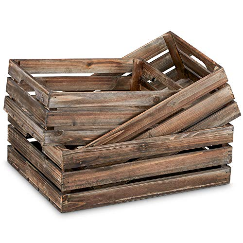 Barnyard Designs Rustic Wood Nesting Crates with Handles Decorative Farmhouse Wooden Storage Container Boxes, Set of 3, 16' x 12.5'(Brown)