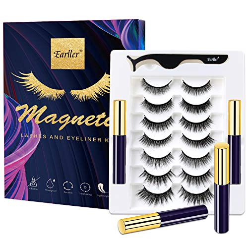 EARLLER 2020 Magnetic Eyelashes with Eyeliner Kit,7 Pairs Natural Look & Glamnetic False Lashes with Applicator - Easy to Apply and No Glue Needed, 3D & 5D Reusable Short and Long Eyelashes Set