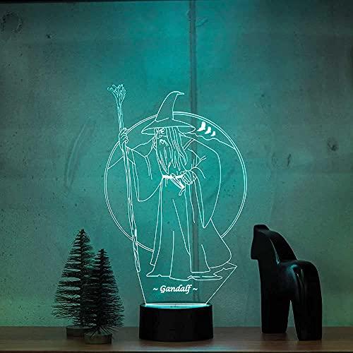 Veilleuse 3D Le Seigneur des Anneaux Gandalf Veilleuse Moderne Illusion Optique 7 Couleurs Différentes avec Batterie et USB Décoration LED RGB Lampe de Table