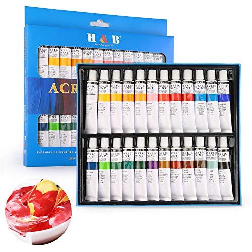 Hospaop Acrylfarben Set, 24 Stück 12 ml Acrylfarbe Set, Acrylic Paint für Acrylmalerei, Perfekt für Leinwand, Holz, Stoff, Ungiftige Acrylfarben Set für Anfänger, Künstler