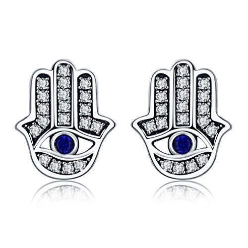 Trendy 100% 925 Sterling Silver Fashion Hamsa Hand Clear CZ Stud Earrings for Women Sterling Silver Jewelry Gift