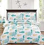 3-Piece Coastal Quilt Set Full/Queen,Tropical Fish Seahorses Seashells Starfish in Aqua Green Coral, Quilted Bedspread Coverlet Nautical Bedding Set Bedroom Decor for All Seasons (Green,Full/Queen)