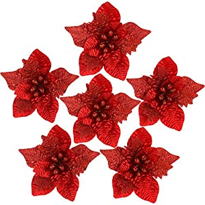 Sea Team 6-Pack Artificial Glitter Poinsettia Christmas Flower Ornaments Tree Decorations, 10-inch, Red