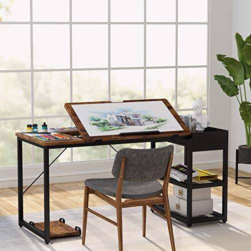 Tribesigns Drafting Table, 55 inches Drawing Computer Desk with Adjustable Tiltable Tabletop, Artist Craft Table with Storage Shelves, Rustic Study Writing Laptop Desk for Home Office Use