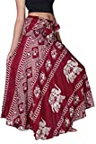 B BANGKOK PANTS Women's Long Maxi Hippie Skirt Boho Gypsy Dress Bohemian Clothing Beach Wear Elephant Design Asymmetric Hem (Red Elephant, One Size)