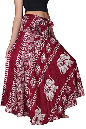 Bangkokpants Women's Long Bohemian Hippie Skirt Elephant US Size 0-12 (Red)