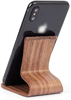 Mobile Mounts Mobile Phone Bracket Wooden S-Type Tablet Universal Lazy Mobile Phone Bracket Living Room Bedroom Bed Table Mobile Phone Bracket Mobile Mounts (Color : Brown, Size : 4-10 inch)