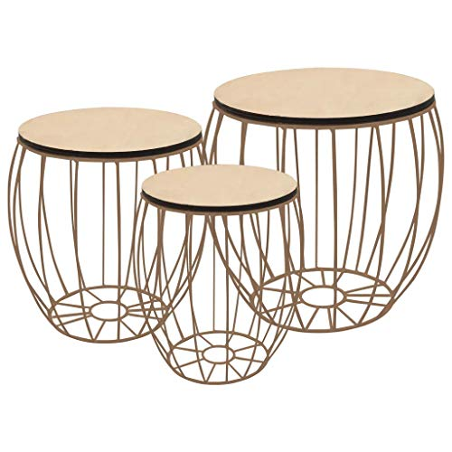 Nesting Tables Set of 3 Iron Coffee Tables and Removable Wooden Trays Coffee Tables for Bedroom Living Room Office Storage Boxes Copper Colour