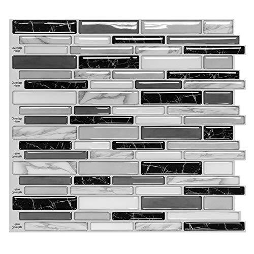 MORCART 10 Stück Fliesenaufkleber Selbstklebende 3D Fliesendekor Aufkleber Backstein Mosaik Wallpaper Küchenschränke Badezimmer Kamin Bodentreppe Abnehmbar Wasserdicht für Küche und Bad