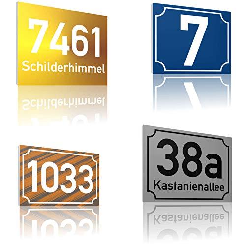 SCHILDER HIMMEL 2mm starke Metall Hausnummer Schilder nichtrostend und wetterfest | Straßen Namen Schild, Adressschild, hier Größe 20 x 15cm in vielen verschiedenen Designs erhältlich