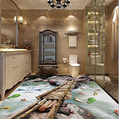 Aangepaste vloeren decoreren 3D Houten Plank Lotus Karper Steen 3D Vloeren Schilderen Zelfklevende PVC 450cm(L) x300cm(W)