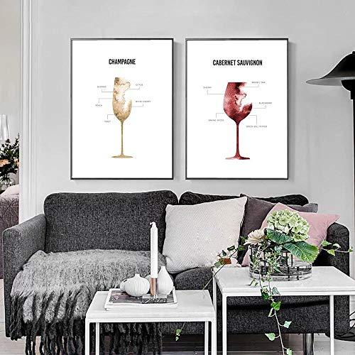 SSHABC Póster nórdico de la anatomía de Champagne, Lienzo de Vino, Arte Decorativo, Pintura de Pared, Cuadro Decorativo escandinavo / 40x60cmx2 Piezas/sin Marco
