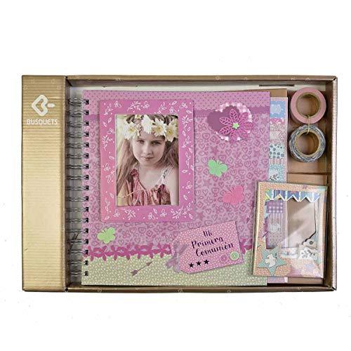 Busquets, Álbum Scrapbook Comunión Niña, Flores, Paspartú para foto, Rosa (54601204360)