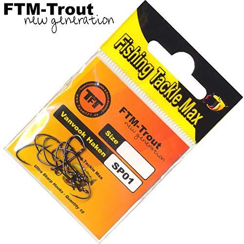 FTM Spoonhaken mit Widerhaken - 10 Einzelhaken für Blinker, Forellenhaken für Forellenblinker, Kunstköderhaken zum Forellenangeln, Größe:6