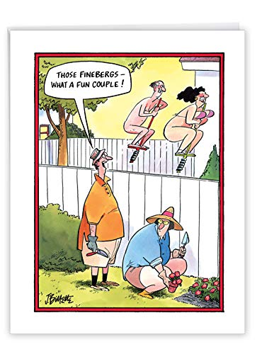 Large Fun Couple' Hilarious Anniversary Card for Couples with Envelope 8.5 x 11 Inch - Funny Husband Envious of The Next Door Neighbors - Couple, Husband and Wife Stationery Gift J3754