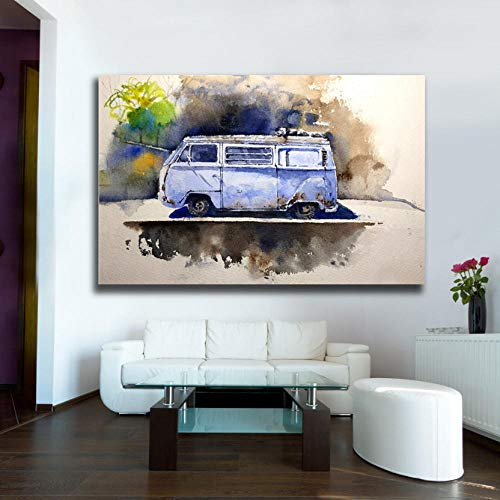 Muurkunst decoratie hand tekenen aquarel retro bus HD canvas olieverfschilderij voor woonkamer moderne wooncultuur grote muurkunst foto's ingelijst 60 * 90CM Mit Rahmen