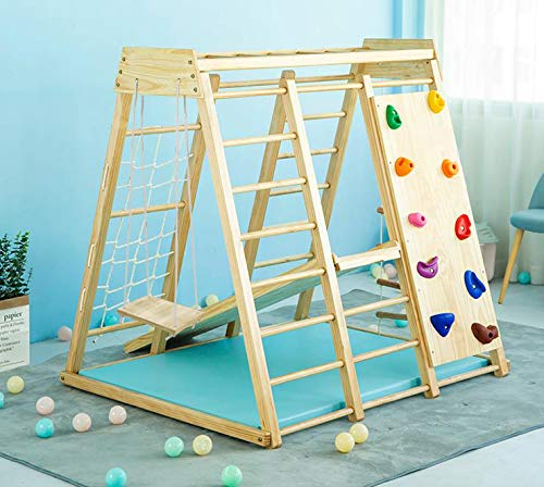 Avenlur Indoor Toddler & Child Indoor Gym Playground Climber Real Wooden Playset 6-in-1 Slide, Rock Climb Wall, Rope Wall Climbing, Monkey Bars, Swing, Ladder Fun Gym for Children Ages 2 -6yrs