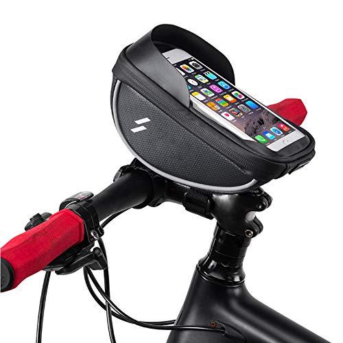 WYY Bolsa para Montar Bicicleta, Soporte Caja Teléfono Celular Impermeable Bicicleta con Bolsa Manillar con Pantalla Táctil Bolsa Bicicleta con Marco Frontal Teléfono Menos 6.5 Pulgadas, Negro