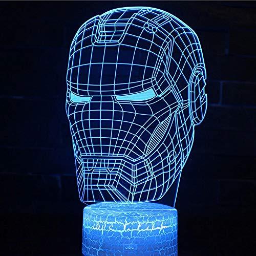 Bellissimo gioco di fumetti eroe USB multicolore 3D lampada da tavolo acrilica base crepa luce notturna