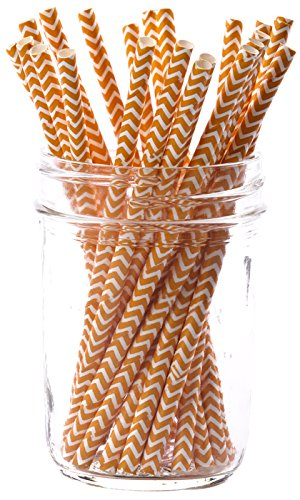 Simply Baked Large Baking Cups, 5.5' long - Pack of 25, Tangerine Chevron