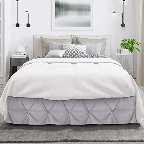 """Pinch Pleat Bed Skirt, Pleated Wrap Around Bed Skirt, Easy Fit 14"""" Inch Pintuck Bed Skirt, Premium Microfiber Bed Skirt Luxury Bedskirt, Hotel Quality Dust Ruffle, King Bed Skirt Light Gray Lavender"""