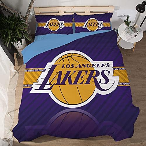 NBA Team Los Angeles Lakers Logo Patrón Funda edredón Suave Juegos de 3 Piezas Funda nórdica Impresa 3D 2 Fundas de Almohada Juegos Ropa Cama para fanáticos Baloncesto Decoración habitación los niños