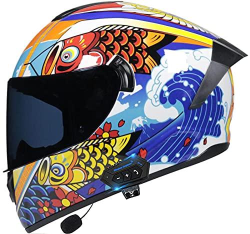 Casco Bluetooth para Motocicleta, Casco Completo Modular con Doble Visera Solar Tipo Flip, Cascos De Motocicleta Crash para Hombres Y Mujeres Certificados por Dot/ECE C,XL
