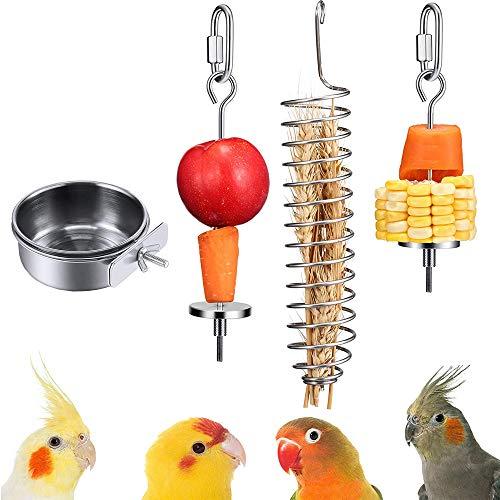 xutong 1 Pezzi mangiatoia per Uccelli+3 Pezzi Porta Alimenti per Uccelli Acciaio Inox Porta Frutta per Uccelli Alimentatore Appeso Spiedino di Frutta Uccelli
