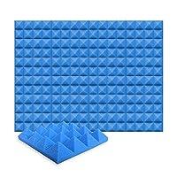 12ピースセット250 x 250 x 50 mm ピラミッド 吸音材 防音 吸音材質ポリウレタン SD1034 (青)
