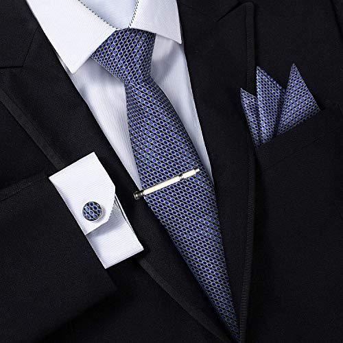 Corbatas para Hombre - Estuche con Pañuelo, Gemelos y Clip de Corbata, Fabricación a Mano con Seda Sintética de Microfibra en Varios