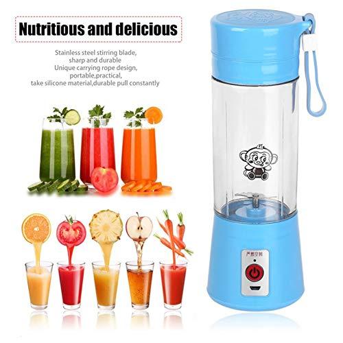 ZZJ Entsafter 380 Ml Usb Electric Fruit Juicer Handheld Smoothie Maker Mixer Wiederaufladbare Mini Portable Juice Wasserflasche, Blau