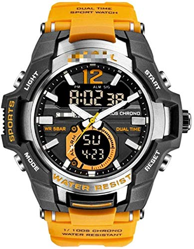JDHFKS Hora Dual LED Digital Reloj Impermeable de los Hombres Casual for Hombre del cronógrafo del Cuarzo del Deporte Relojes 22cm