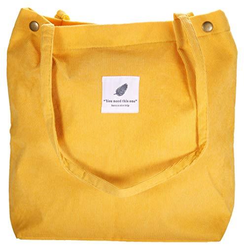 Raiatea Canvas Tasche Damen Stofftasche Shopper Mädchen Groß Cord Tote Bag Fashion Schultertasche Leicht Schule Lässige Jutebeutel Cord, Gelb