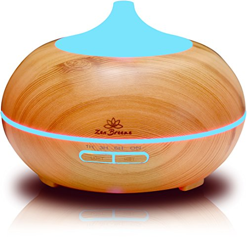 Zen Breeze Essential Oil Diffuser, 2019 Model Aromatherapy Diffuser, 14 Color Night Light, Best Wood Grain, Housewarming Gift Ideas, Wedding & Birthday Gifts Edition