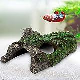AQQA Decoración para acuario, tortuga escondida, tronco de árbol hueco, caseta de madera, cueva, para peces, arneleneses (S)