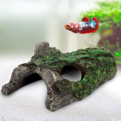 AQQA Aquarium Trunk Decoration,Resin Hideout Caves Hollow Tree Log Trunk Ornament,Driftwood for Betta Fish Reptiles Turtles (S)