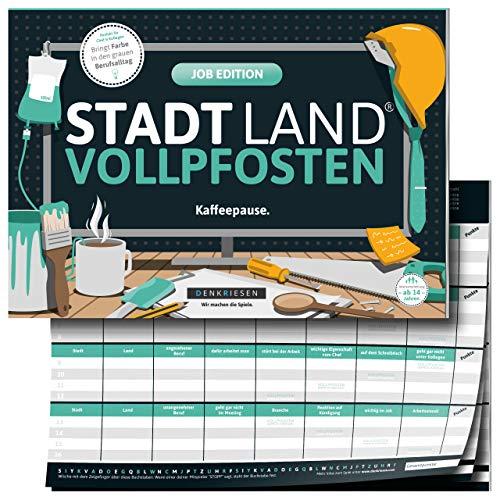 DENKRIESEN - Stadt Land VOLLPFOSTEN® - Job Edition 'Kaffeepause Kollegen | Wichtelgeschenk | Stadt Land Fluss | Spielblock