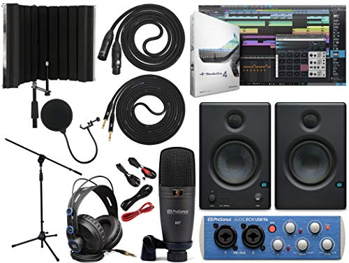 """PreSonus AudioBox 96 Audio Interface Full Studio Bundle with Studio One Artist Software Pack with Eris 3.5 Pair Studio Monitors and 1/4"""" TRS to TRS Instrument Cable and Microphone Isolation Shield"""