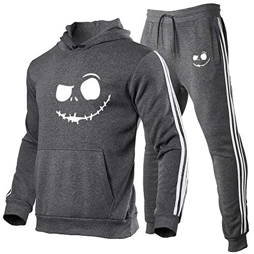 Sudadera con capucha para Halloween, Pumpkin Jack Face con capucha, manga larga, abrigo de invierno grueso y cálido, bolsillos grandes, abrigo casual con capucha + pantalón 2 XXXL