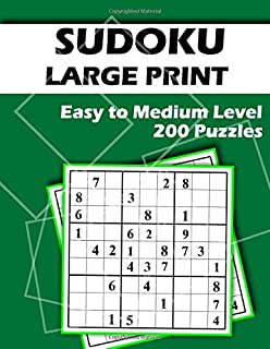 Sudoky Large Print 200 Easy to Medium Puzzles: Large Font - Two Puzzles per Page - Easy to Read and Work on - Brain Challenge for Adults and Seniors