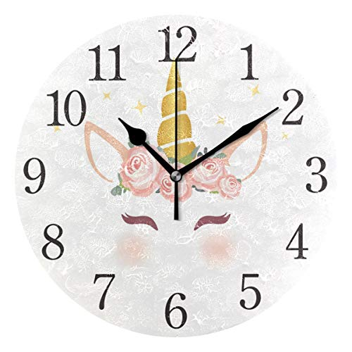 Relógio de parede Senya mulher afro-americana silenciosa sem tique-taque, funcional, redondo, fácil de ler, home office, relógio escolar, Pattern 10, One Size, 1
