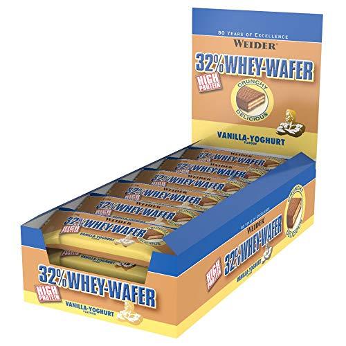 WEIDER 32{f1968cc71d2a15626c5052fe2dba6dc9c1be6bbbec125fdfa42f00666119dbd2} Whey Wafer Proteinriegel 35g, Vanille, 24 leckere Eiweiß Waffeln mit Schokolade