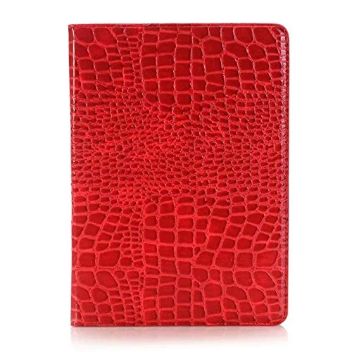 Crocodile Leather Flip Stand Light-Weight Tablet Case Cover Compatible with iPad 9.7 inch 2017/2018 (5th/6th Generation)/iPad Air 2/iPad Air. (Color : Red)