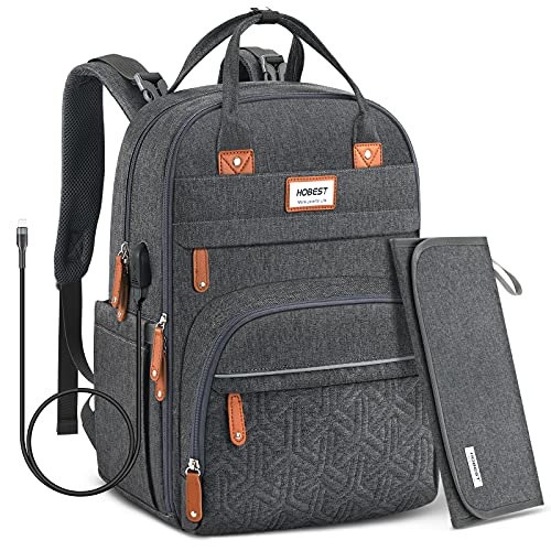 Diaper Bag Backpack,Hobest Baby Bags with USB Charging Port,Multifunctional Large Travel Back Pack with Changing Pad/Stroller Straps/Reflective Stripe/Insulated Pockets/Laptop Padded Pocket