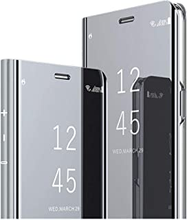 Compatible with Samsung Galaxy S10 Plus Case,Luxury Plating Kickstand Case Smart Clear View Full Coverage Protective case for Galaxy S10E/S10 (Silver, Samsung Galaxy S10 Plus)