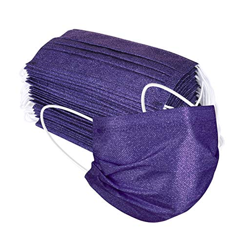 Disposable Filter Masks, 3 Ply Face Masks, for Home & Office(50 Pcs) - Box Fabric (Purple)