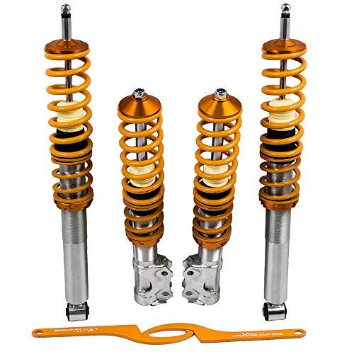 maXpeedingrods Juego de Amortiguadores Ajustables Delanteros y Traseros Suspensión Roscada Coche Llave Coilover Muelle para Golf 2 MK2/A2 19E/1G 1983–1992