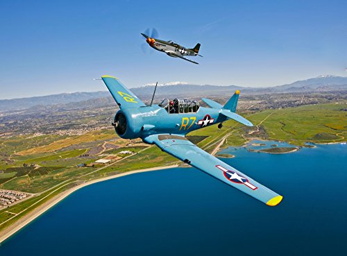 A North American T-6 Texan and a P-51D Mustang in flight over Chino, California Poster Print (32 x 24)