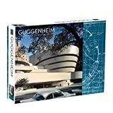 """Galison Frank Lloyd Wright Guggenheim Two-Sided Jigsaw Puzzle, 500 Pieces, 24""""x18"""" – Guggenheim Museum and Museum Blueprint – Challenging Family Fun – Fun Indoor Activity, Multicolor"""